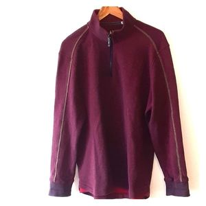 Robert Graham 1/4 Zip Pullover Sweater L Burgundy